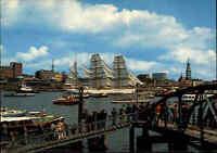 HAMBURG ~1970 Postkarte mit Segelschiff Schulschiff GORCH FOCK im Hafen Harbour