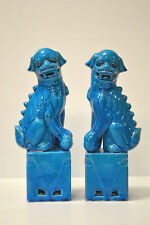 """Pair Chinese blue Porcelain Foo Dogs Lions Figures Statues Home Decoration 13""""H"""