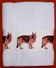 GERMAN SHEPHERD DOG LARGE HAND COTTON GUEST TOWEL SANDRA COEN ARTIST PRINT