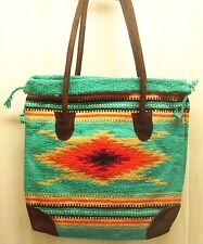 Tote Bag Southwestern Design Monterrey Handwoven Suede Handles, Snap Turquoise