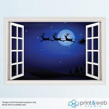 Christmas Night Santa Sleigh Window View Decal Wall Sticker Home Art Mural