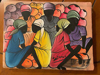 Haitian Folk Art Oil On Canvas Signed Painting