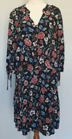 Katies Size 14 Casual Multicolour Floral Long Sleeve V-Neck Drop Waist Dress