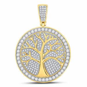 10kt Gelbgold Rund Diamant Baum des Lebens Medaillon Charm Anhänger 1-1/4 Cttw