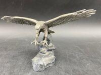 Vintage Hudson Pewter Landing Eagle Figurine, Marked RS, circa 1975