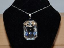 Emerald-Cut Rectangle Crystal Pendant made with Swarovski in Clear & Silver