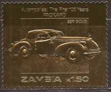 Zambia - 1986 Packard Automobile - 22K Gold Leaf Stamp - 26A-028
