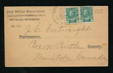 CANADA 1914 POST OFFICE OFFICIAL BUSINESS ENVELOPE 2 x 1c to MANITOBA