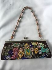 Brown Floral Embroidered Beaded Sequined Party Wedding Purse Handbag Bag Clutch