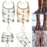 Fashion Boho Vintage Coin Blessing Tassel Anklets Foot Jewelry Barefoot Sandals