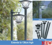 SWGSL51 - Pair of Black Garden Outdoors Rechargeable Solar Powered Post Lights