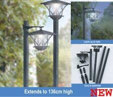 Gardenwize Pair of Black Garden Outdoors Rechargeable Solar Powered Post Lights