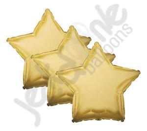 "3 pc - 18"" Solid Antique Gold Star Balloon Wedding Baby Bridal Shower Birthday"