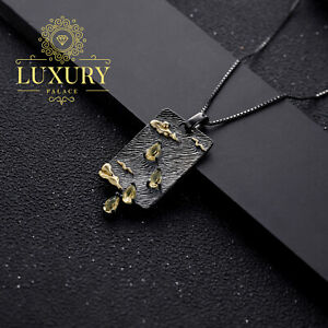 Natural Citrine Handmade Sterling Silver Statement Pendant Necklace for Women