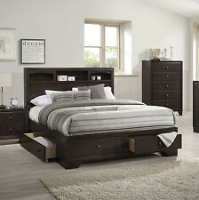 Queen Size Bed W Shelf Under Storage Drawers Rich Wood Finish Bedroom Furniture