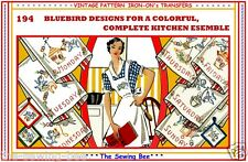 BLUE BIRDS Days of the Week Transfer Embroidery Kitchen tea Towels  # 194