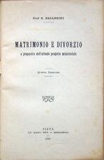 1903 – BALLERINI, MATRIMONIO E DIVORZIO – DIRITTO LEGGI ORDINAMENTO RELIGIONE