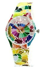 New Swatch Flowerfool Multi-Colored Print Silicone Women Watch 43mm SUOW126 $75
