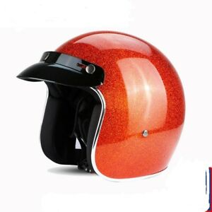 ECE Shiny flake color open face motorcycle helmet fiberglass retro vintage