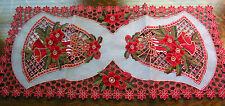 """Christmas Embroidered Table Runner Cut Work Bell Poinsettia 34""""x16"""" Red White"""
