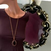 Beautiful Plum Red Large Pendant Necklace Baroque Rococo