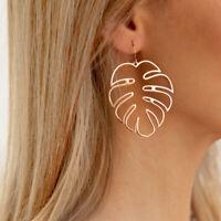 Bohemian Hollow Monstera Leaf Dangle Drop Earrings Fashion Tropical Jewelry NEW