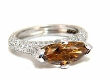 GIA certified 2.46ct Fancy Dark Yellow Brown Diamond Ring Platinum