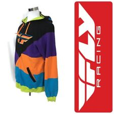 Men's Fly Racing Motocross Hoodie Jacket Full Zip Multi-Color Fleece Lined  L