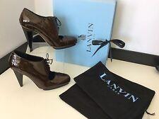 Lanvin Shoe Boots, Heels, Brown Patent Leather Uk 3 Eu 36, Cone Heel, RRP £435