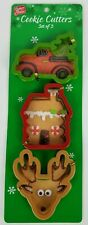 Christmas Holiday Cookie Cutters Reindeer House Truck Set Of 3 New