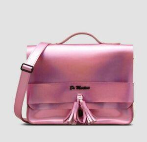 "Dr Martens 13"" Iced Metallic Leather Tassel Satchel Bag Mallow Pink"