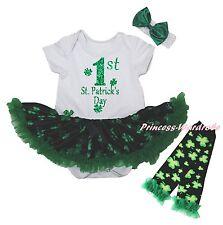 1ST St Patrick Day Bodysuit Black Green Clover Girl Baby Dress Leg Warmer NB-18M
