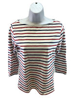 Vineyard Vines Women's Red/White/Blue Striped 3/4 Sleeve T-Shirt Sz S