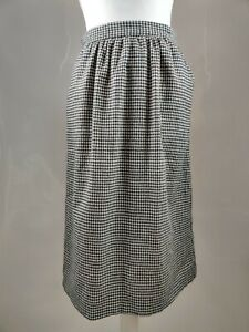 SAG HARBOR Vintage Aline High Waist Skirt Wool Pockets Dogthooth Check Print 10