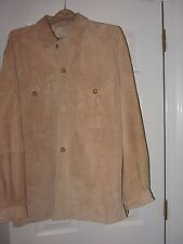 RAINFOREST TAN SUEDE LEATHERJACKET; SIZE M; SLIT SIDE AND PATCHED POCKETS