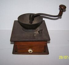 Antique Coffee Grinder Mill Wood and Cast Iron