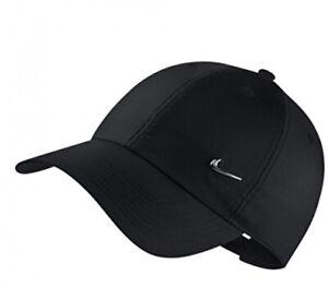 Nike U NK H86 Metal Swoosh Cap Kappe Schwarz Metallic Silver Polyester One Size