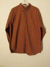 S6826 Orvis Hombre Marrón Grande Manga Larga de Cuadros Camisa