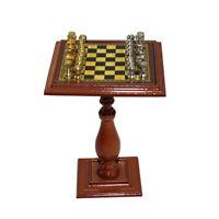 1:12 Puppenhaus Miniatur Metall-Schach-Set, Silber und Golden, Puppenhaus