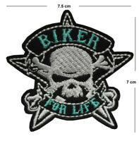 Biker for life Iron / Sew On Embroidered Patch Badge Embroidery skull motor bike