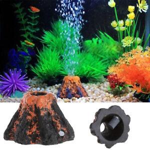 Fish Tank Volcano Shape Bubbler Aquarium Ornament Bubble Decor w/ Air Stone Prop