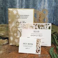 12pcs champagne Laser Cut Wedding Invitation Cards Custom Personalized Printing