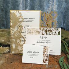 60 PCS champagne Laser Cut Wedding Invitation Cards Blank Inner Party Birthday