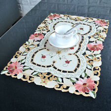 Set of 4 Embroidered Placemats Woven Non-Slip Heat Resistant Table Mat 13x20''