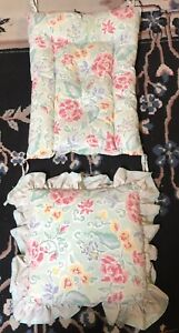 Vintage Floral Chair Cushions Pads Bottom & Back Retro, Green