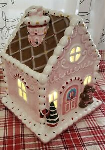 Mr. Christmas Ceramic Gingerbread Illuminated House NIB