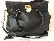 Michael Kors Mk Hamilton Bag Large Black Leather Tote Handbag Purse New