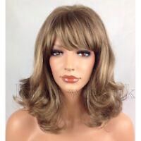 LIGHT BROWN WIG LADIES WOMENS WAVY SHOULDER LENGTH BOB FULL HEAD FASHION HAIR UK