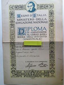diploma epoca fascista Istituto Rosa Maltoni Mussolini di Campagna Salerno 1937