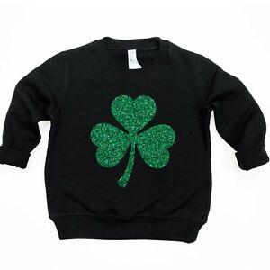 Girls Green Glitter Shamrock St Patricks Day Sweatshirt Toddler Sweater Tops